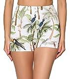 Merry Style Leggins Cortos Malla Deportiva Short Mujer MS10-407 (Blanco/Palmas/Tucanes, M)