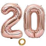 Globos con el número 20, número 20, color oro rosa para niña, globos de 20 cumpleaños, globos de 20 cumpleaños, globos de oro rosa, número 20, globos grandes de 72 cm, globos gigantes