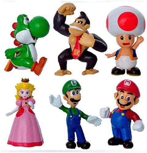 UanPlee-SC Gift 6 Pieces Princess Peach Donkey Kong Princess Super Mario Luigi Yoshi Action Figure Toy