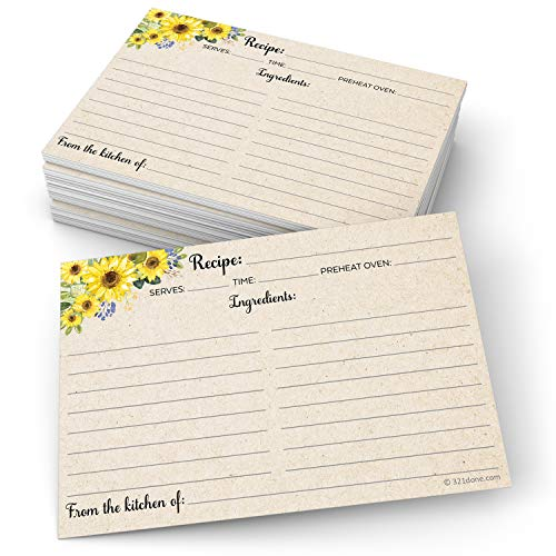 321Done Sunflower Recipe Cards (Set of 50) Large 4x6 - Rustic Kraft Tan, From the Kitchen Of - Double-Sided for Weddings, Bridal, Baby Shower - Made in USA