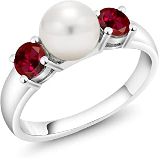 Gem Stone King 925 Sterling Silver Red Created Ruby and Freshwater Pearl Women's Ring (0.80 Ct Round Available 5,6,7,8,9)
