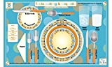 Tot Talk Table Setting & Etiquette Educational Placemat for Kids, Washable and Long-Lasting, Double-Sided, Made in The USA
