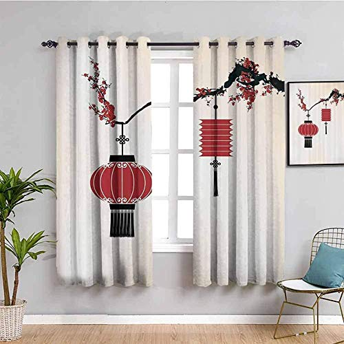 ZLYYH Eyelet Curtains Red branches flowers lanterns W52 xL84 Blackout Curtain Soft Solid Thermal Insulated Ring Top Decorative Curtain with Grommets for Living Room Bedroom Nursery Room 2 Panels