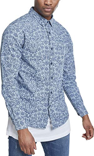 Urban Classics Herren Jeanshemd Printed Flower Denim Shirt, Light Blue Wash, M