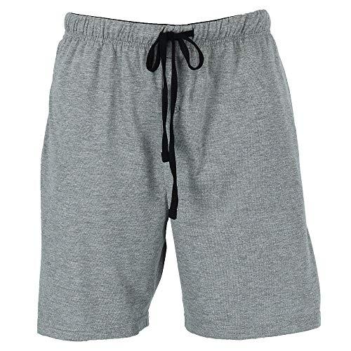 Hanes Men's Jersey Knit Cotton Button Fly Pajama Sleep Shorts, Medium, Grey