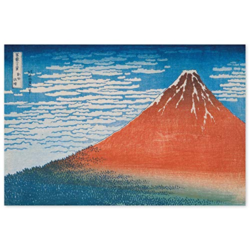JUNIWORDS Poster, Katsushika Hokusai, Klare Morgendämmerung bei Südwind, Roter Fuji, 59 x 40 cm