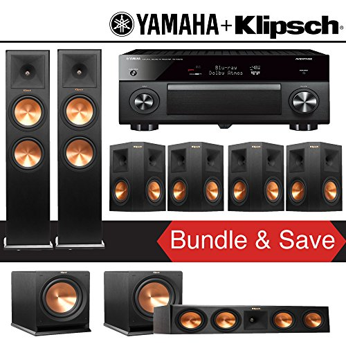 Klipsch RP-280F 7.2-Ch Reference Premiere Home Theater System with Yamaha AVENTAGE RX-A2070BL 9.2-Channel Network AV…