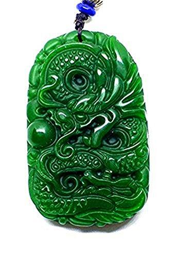 Collar con colgante de jade verde natural tallado a mano con dragón
