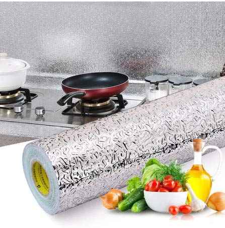 TTBH Kitchen Oil-Proof Waterproof Stickers Aluminum Foil Kitchen Stove Cabinet Self Adhesive Wall Sticker DIY Wallpaper40X100Cm