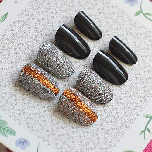 CSCH Faux ongles Populaire couleur cristal cristal diamant tête ronde couleur fait main faux ongles poudre noir