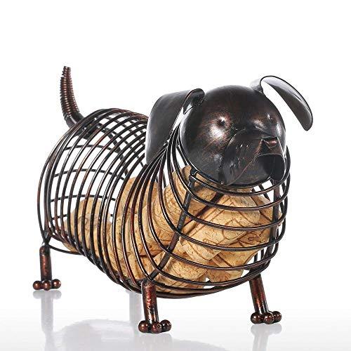 Contenedor de corcho para vino salchicha de hierro, para manualidades, adorno de animales, regalo marrón, 35 x 12 x 15 cm