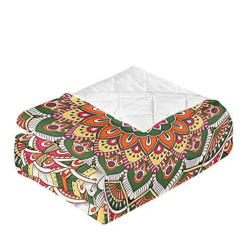 Oduo Colcha Bouti Cama de Verano, Microfibra Cubrecama Multiusos Suave para Cama de Matrimonio, Lavable Acolchada Edredón Ligero Manta para Todas Las Estaciones (Mandala Verde,230x260cm)