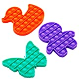 i-FSK Push Pop Bubble Sensory Fidget Toy, Autism Special Needs Stress Reliever Silicone Stress Reliever Toy, Squeeze Sensory Toy, Help Restore Emotions Gift for Adult Kids (3shapes-3pack-1)