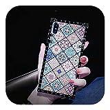 人気モデルiPhone 6 7 8 Plus xr xs max x 11ソフトシリコンフォンサムスンカバー用のラグジュアリースクエアBlu-rayボヘミアンエスニックスタイルフレームケース-only shell-for ip 7plus 8plus