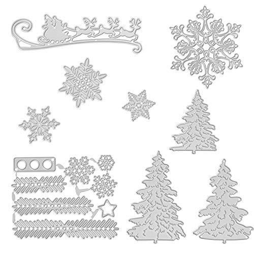 Kesote 9x Stanzschablonen Stanzformen Metall Prägeschablonen Schneiden Schablonen Stanzmaschine für Weihnachten DIY Papier Karten Fotoalbum (Schneeflocken + Weihnachtsbaum + Rentier)