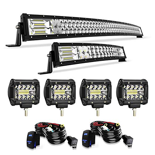 """4XBEAM 52"""" 300W Curved + 22"""" 120W Curved 5D Led Light Bar + 4Pcs 4Inch Pods+Wiring Harness for Jeep Trucks Dodge Boat"""