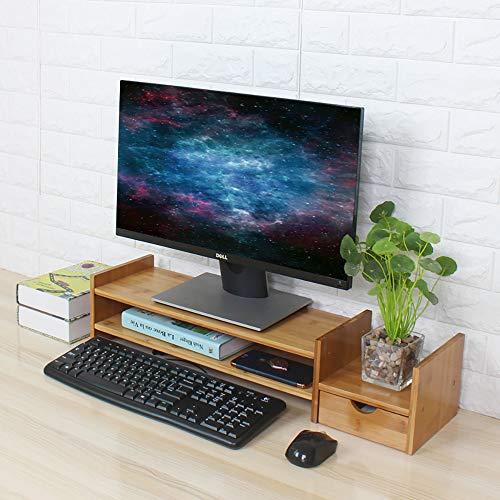 soges Monitorständer Monitorerhöhung Bildschirm Ständer Bildschirmerhöher mit Stauraum aus Bambus für Monitor