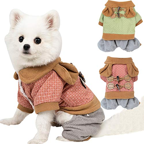 BabYoung Pet Clothes Winter Wram Dog Clothes Winter Outfits Pet Jumpsuits for Small and Medium-Sized Dogs Bichon, French Bulldog, Corgi, Etc.Cat Coats (XS, Red)
