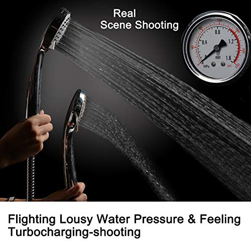 HOMEWELL High Pressure Handheld Shower Head with Powerful Shower Spray Against Low Pressure Water Supply Pipeline, Multi-Functions, w/ 79'' Hose, Chrome