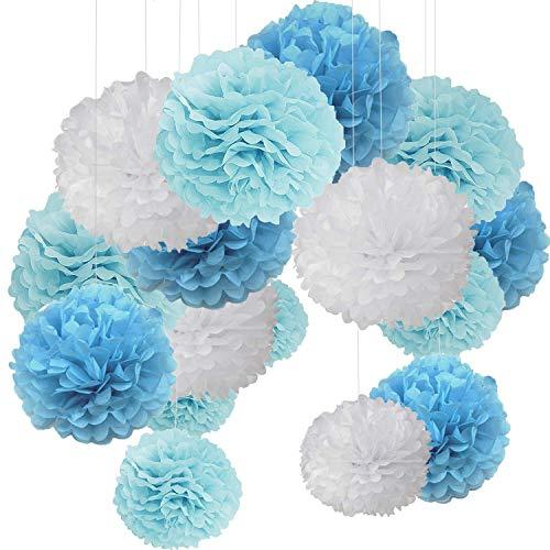 15er Set Blau Weiß Bunt Seidenpapier Pompons Pompoms Deko für Hochzeit Geburtstag Party Blau Flach