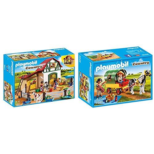 PLAYMOBIL Country Granja de Ponis con Muchos Animales y Pajar, A Partir de 4 años (6927) + Granja de Ponis Playmobil Playset (6948)
