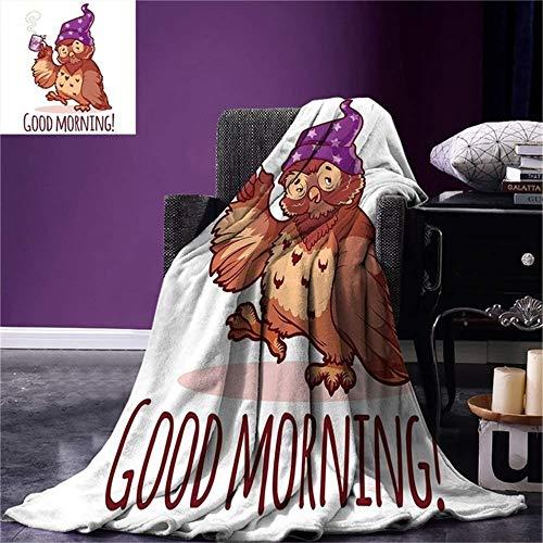 Aymsm Lustige Wurfs-Decke aufgeweckte Eule im Schlummertrunk mit Einer Tasse Kaffee-Typografie des gutenmorgens