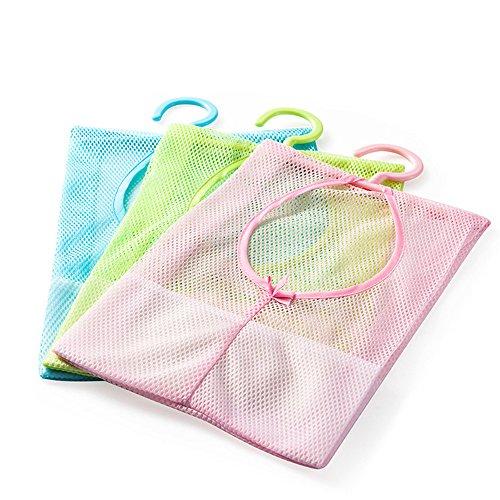 yueton 3pcs Colorful Hanging Mesh Bag Bathroom Shower Storage Organizer Set Hamper Bag Closet Rack Clothes Clip Collection Bag