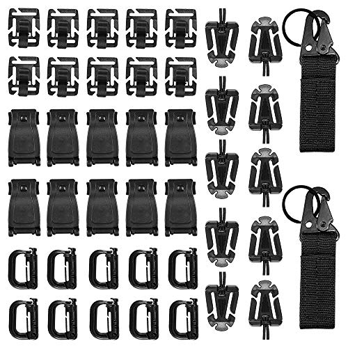 LOREMYI 42 Pcs Tactical Molle Attachments Tactical Gear Clips Nylon Buckle Military D Ring Locks Tactical Hydration Water Tube Clips for Hiking Camping Outdoor Survival