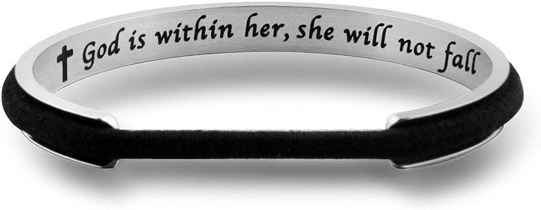 Hair Tie Bracelet Psalm 46:5 God Is Within Her She Will Not Fall Cuff Bracelet Christian Jewelry Bible Verse Bracelet