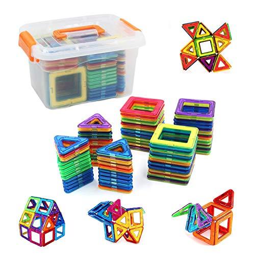 rui yueマグネットブロック 磁気おもちゃ マグネットおもちゃ 磁石ブロック 磁石玩具 おもちゃ 80PCS正方形40×個 三角形×40個 6歳以上の子供が遊ぶのに適しています。