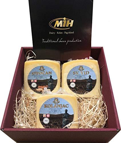 Geschenkbox mit 900 Gramm vom besten Pager Käse der Insel Pag Delikatessen Geschenkkorb Set aus Kroatien