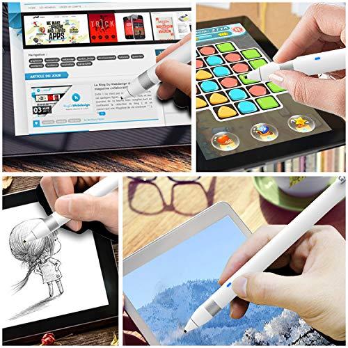 Active Stylus Stift für sämtliche Touchscreens. Wiederaufladbarer Eingabestift Pencil mit 1,45mm feiner Spitze, der kapazitive Stylus ist kompatibel für Apple iPad, iPhone und Samsung Tablets… (white)