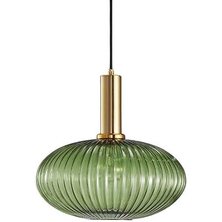 HJXDtech - Suspension Luminaire Industrielle Vintage en Verre Nervuré,Plafonnier avec fini en laiton poli Lustre,Suspension Lampe de Salle à Manger Cuisine Salon Chambre (Vert, 30CM)