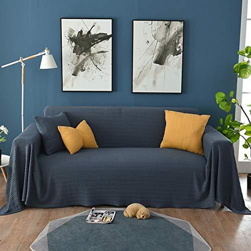 YANRR Sofa Throw Blanket Baumwolle Staubdichte Sofa Stuhlbezug Bed Throws Blanket Sofabezug rutschfeste Sofakissen Sofa Handtuchdecke,Navy Blue,170 * 380cm
