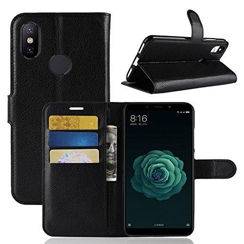 CoverKingz Handyhülle für Xiaomi Mi A2 - Handytasche mit Kartenfach Xiaomi Mi A2 Cover - Handy Hülle klappbar Schwarz
