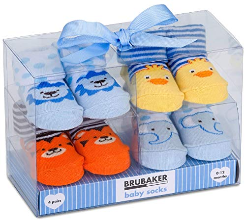 BRUBAKER - Chaussettes bébé - Lot de 4 Paires - Garçon 0-12 Mois - Coffret cadeau Naissance/Baptême - Animaux