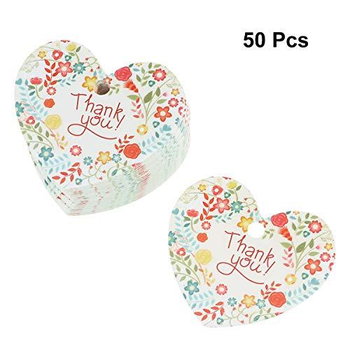 Amosfun Hart Bloemenpapier Hangende Tags Dank U Brievenkaarten Hanger Bakken Voedsel Gift Pakket Labels voor Valentijnsdag Bruiloft Verjaardag Party 50 Stks