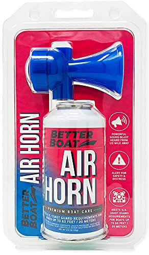 Air Horn for Boating Safety Canned Boat Accessories | Marine Grade Airhorn Can and Blow Horn - 3.5oz