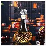 SHANGZHI Whisky Kristall Flasche Dekanter mit Deckel Whiskey Karaffe Behälter Gin Karaffe Transparente Glaskaraffe Decanter für Likör Saft Container 750ml-5