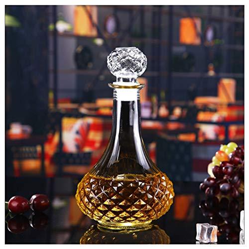 SHANGZHI Whisky Dekanter Kristall Flasche mit Deckel|Wein Carafe |Whisky Karaffe|Gin Karaffe|Transparente Glaskaraffe Decanter für Whiskey Likör Saft Container 750ml-5