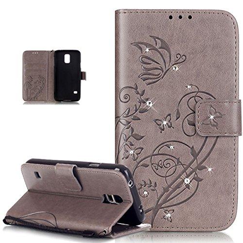 Kompatibel mit Galaxy S5 Mini Hülle,Galaxy S5 Mini Lederhülle,Strass Glänzend Prägung Blumen Reben Schmetterling PU Lederhülle Handyhülle Taschen Flip Wallet Ständer Schutzhülle Mini,Grau