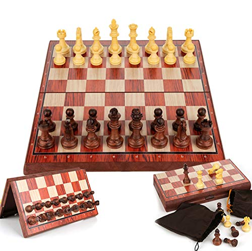 LINWEI Wooden Handcrafted Chess Set Strategy Game Foldable Magnetic Traditional Games Classic Family Game for Kids Adults (Size : 28x28cm)