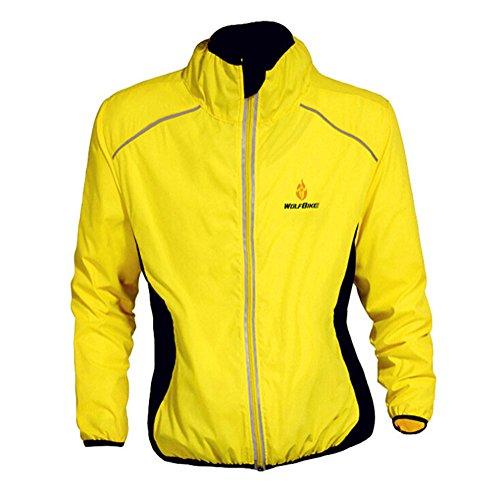 West Biking – Chaqueta impermeable de manga larga, para hombre, ideal para practicar ciclismo bicicleta, protege también del viento, tallas de S a XXXL, mujer Hombre Chicos, Giallo - giallo, L/(UK misura: S)