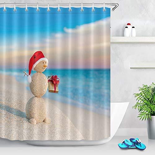 LB Tropical Christmas Snowman Shower Curtain Beach Themed Sand Snowman with Christmas Hat Gifts Funny Xmas Bathroom Curtain Waterproof Fabric Bathroom Decor 60x72 Inch