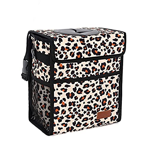 Car Trash Can Leak Proof Car Trash Bag Waterproof Car Garbage Can with Lid for SUV Front Seat Multipurpose Car Hanging for Headrest Collapsible and Portable with Storage Mesh Pocket, Leopard Print