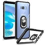 DOSMUNG Funda Compatible con Samsung Galaxy S8 Plus, Anticaida Carcasa con 360 Grados Anillo Soporte Giratorio Magnético, TPU Silicona Parachoques y Duro Transparente PC Panel Trasero Case - Negro