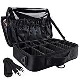 GZCZ 3 Layer Large Capacity Professional Travel Makeup Train Case 13.4 Inches Makeup Bag Cosmetic Brush Organizer Artist Portable Storage Bag With Adjustable Dividers for Make Up Accessories
