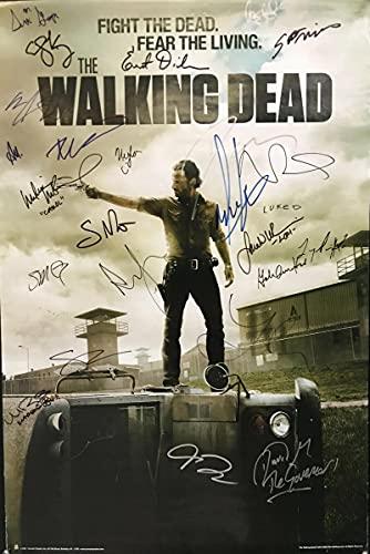 qianyuhe Cuadros artísticos de Pared The Walking Dead AMC Programa de televisión Firmado película artística impresión póster de Seda decoración de la Pared del hogar 60x90cm