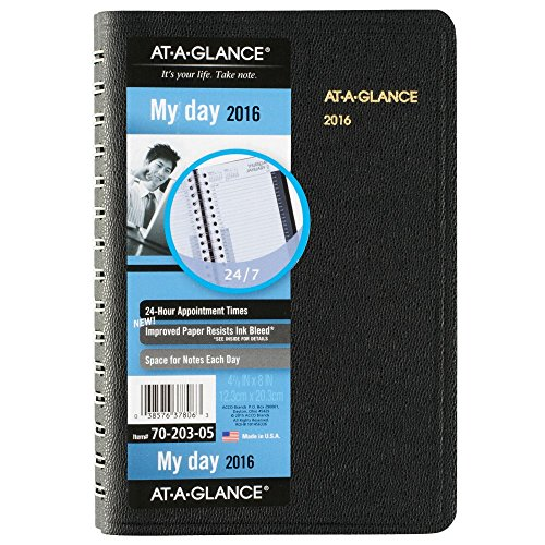 AT-A-GLANCE Daily Appointment Book / Planner 2016, 24-Hour, 4-7/8 x 8 Inches, Black (70-203-05)