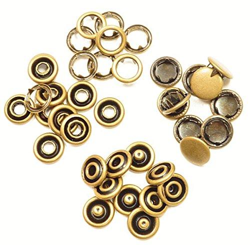 アメリカンホック 10組セット アメリカンホックボタン スナップボタン (アンティークゴールド, 10mm)